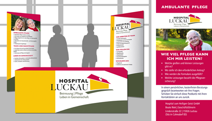 Messestand und Postkarte Hospital Luckau